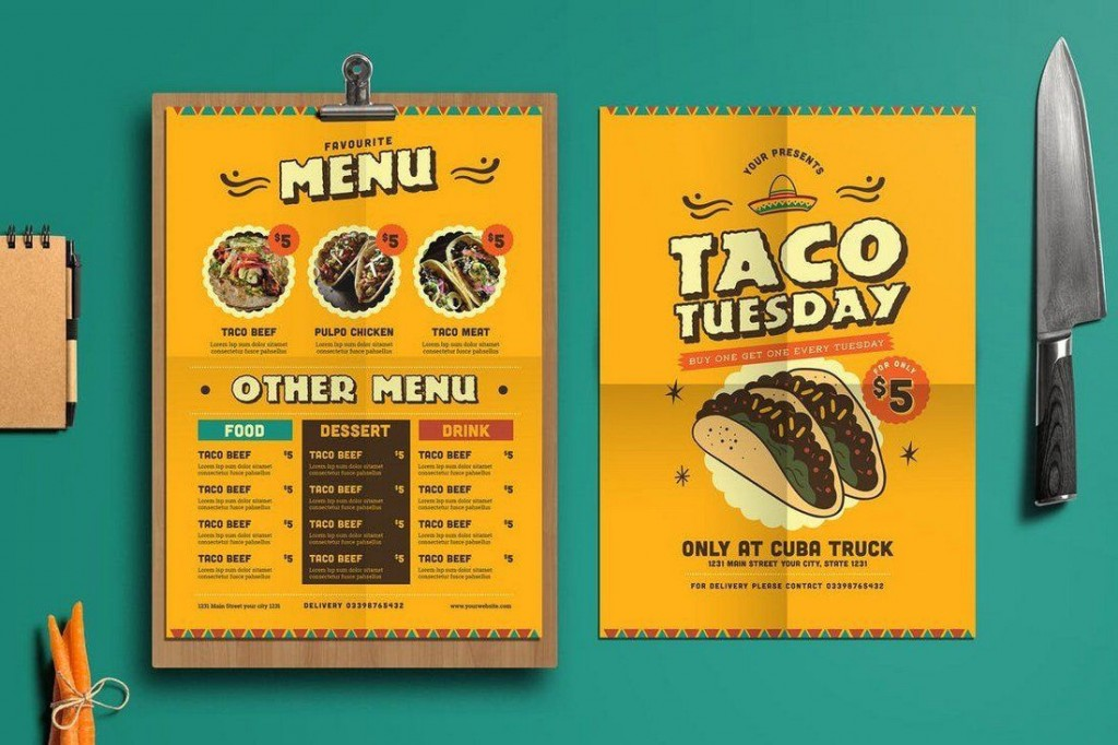 001 Simple Take Out Menu Template High Def  Tri Fold Free Word Restaurant AwayLarge