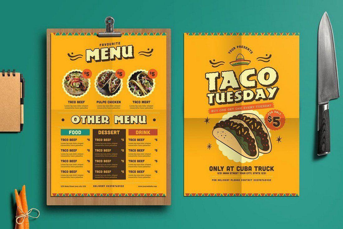 001 Simple Take Out Menu Template High Def  Tri Fold Free Word Restaurant AwayFull