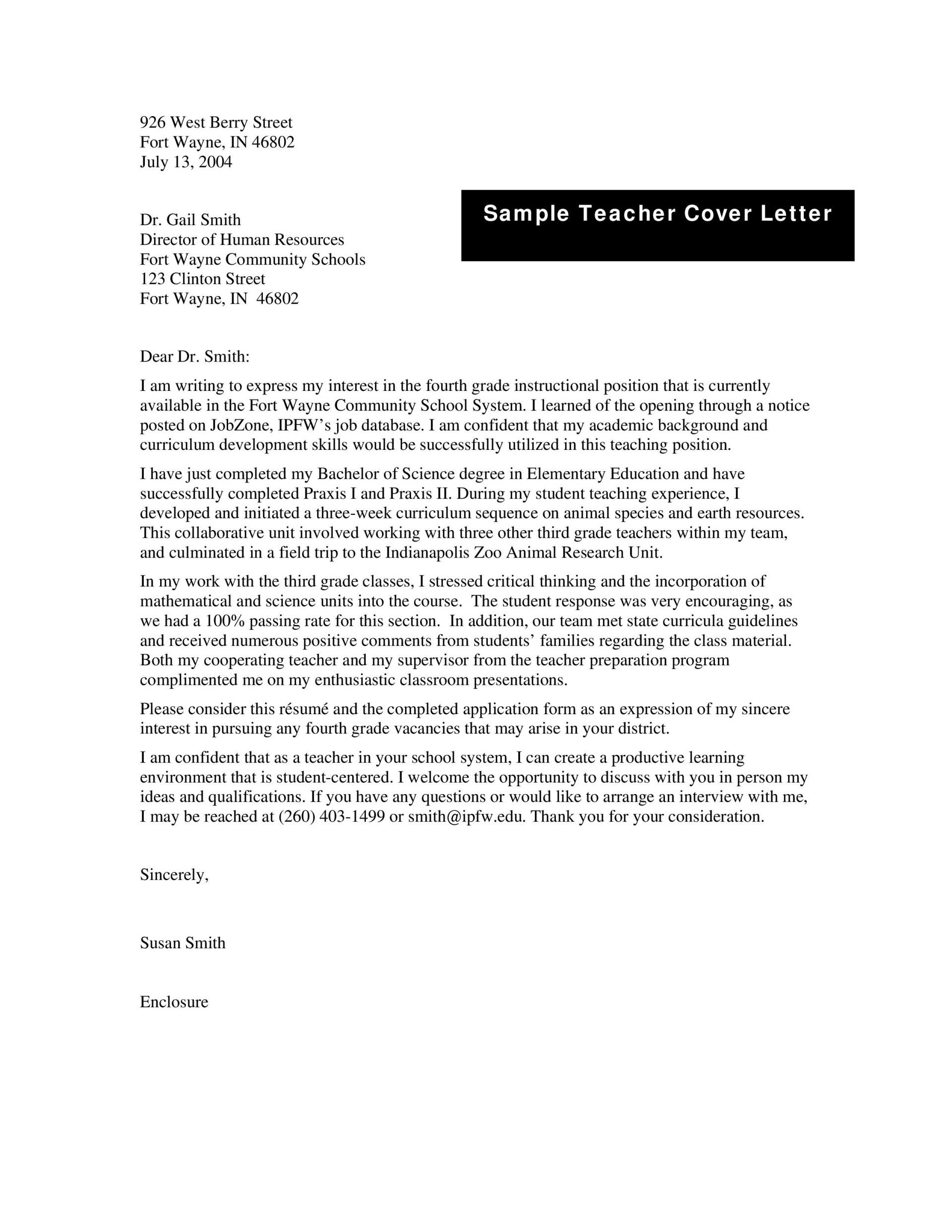 001 Simple Teacher Cover Letter Template High Def  Teaching Job1920