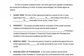 001 Simple Template For Lease Agreement Rental Property Example