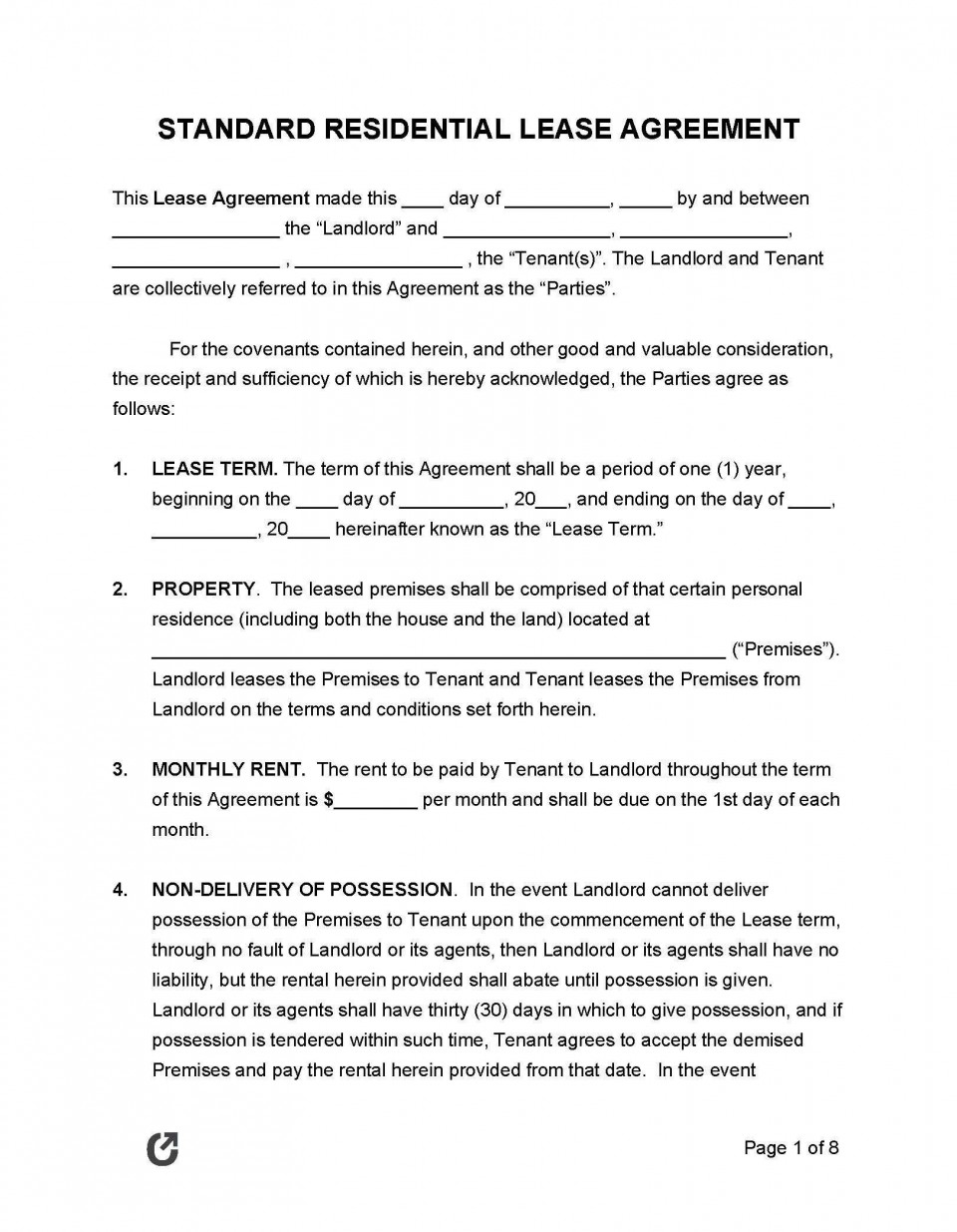 001 Simple Template For Lease Agreement Rental Property Example 960