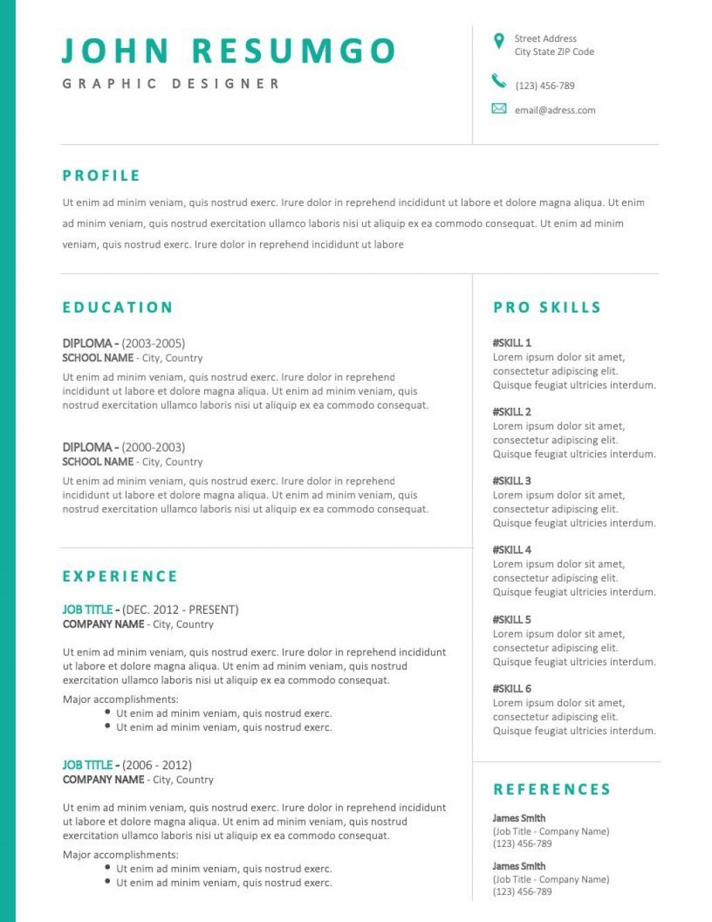 001 Simple Two Column Resume Template Word High Definition  Cv Free MicrosoftLarge