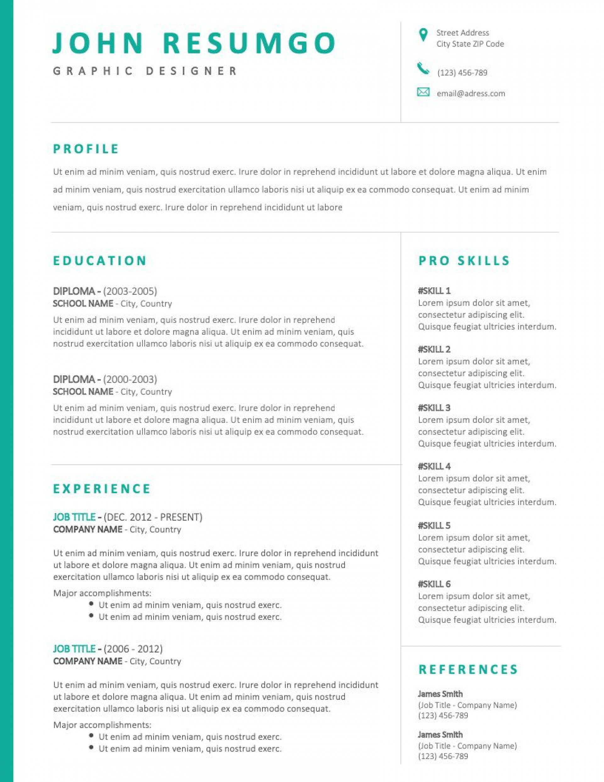 001 Simple Two Column Resume Template Word High Definition  Cv Free Microsoft1920