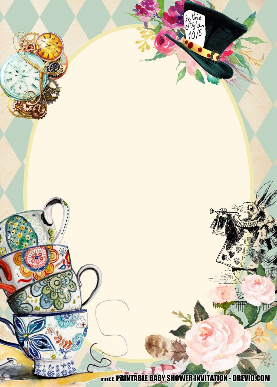 001 Singular Alice In Wonderland Invite Template High Resolution  Party Invitation FreeLarge