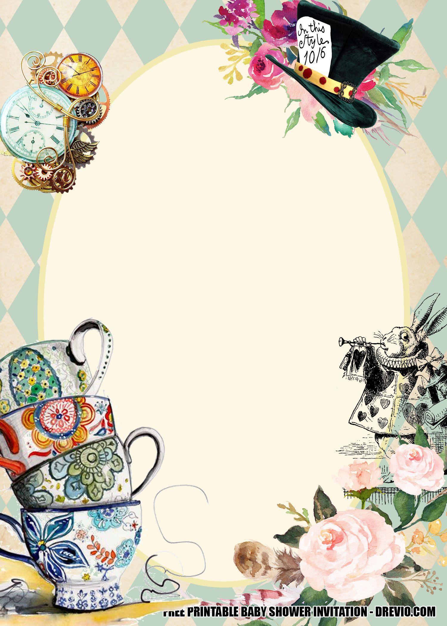 001 Singular Alice In Wonderland Invite Template High Resolution  Party Invitation FreeFull