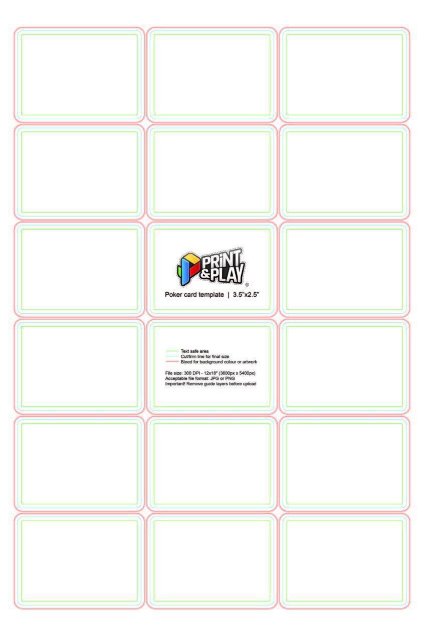 001 Singular Blank Playing Card Template Word Highest Quality Full