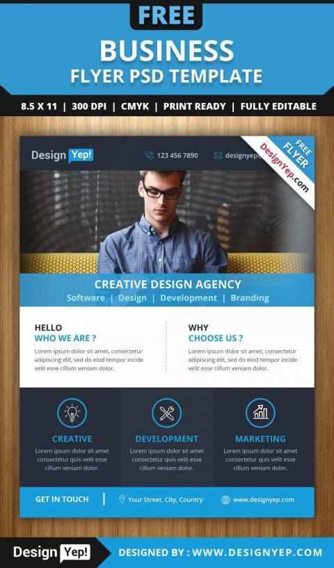 001 Singular Busines Flyer Template Free Download Concept  Photoshop Training Design480