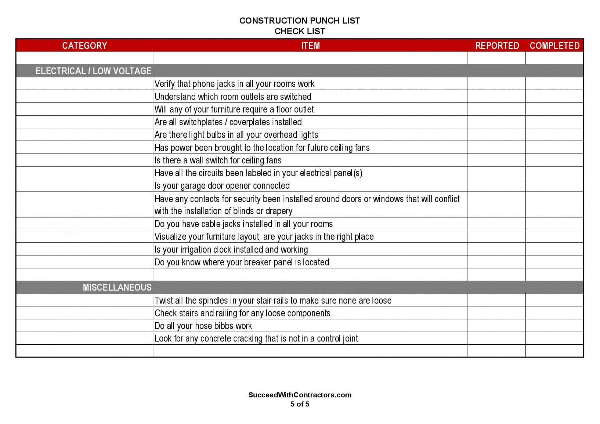001 Singular Construction Punch List Template Word Picture 1920