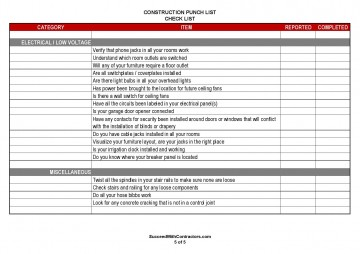 001 Singular Construction Punch List Template Word Picture 360