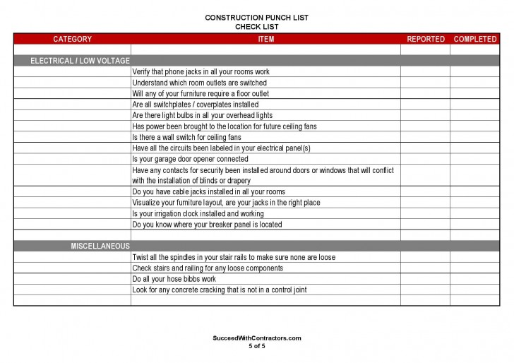 001 Singular Construction Punch List Template Word Picture 728