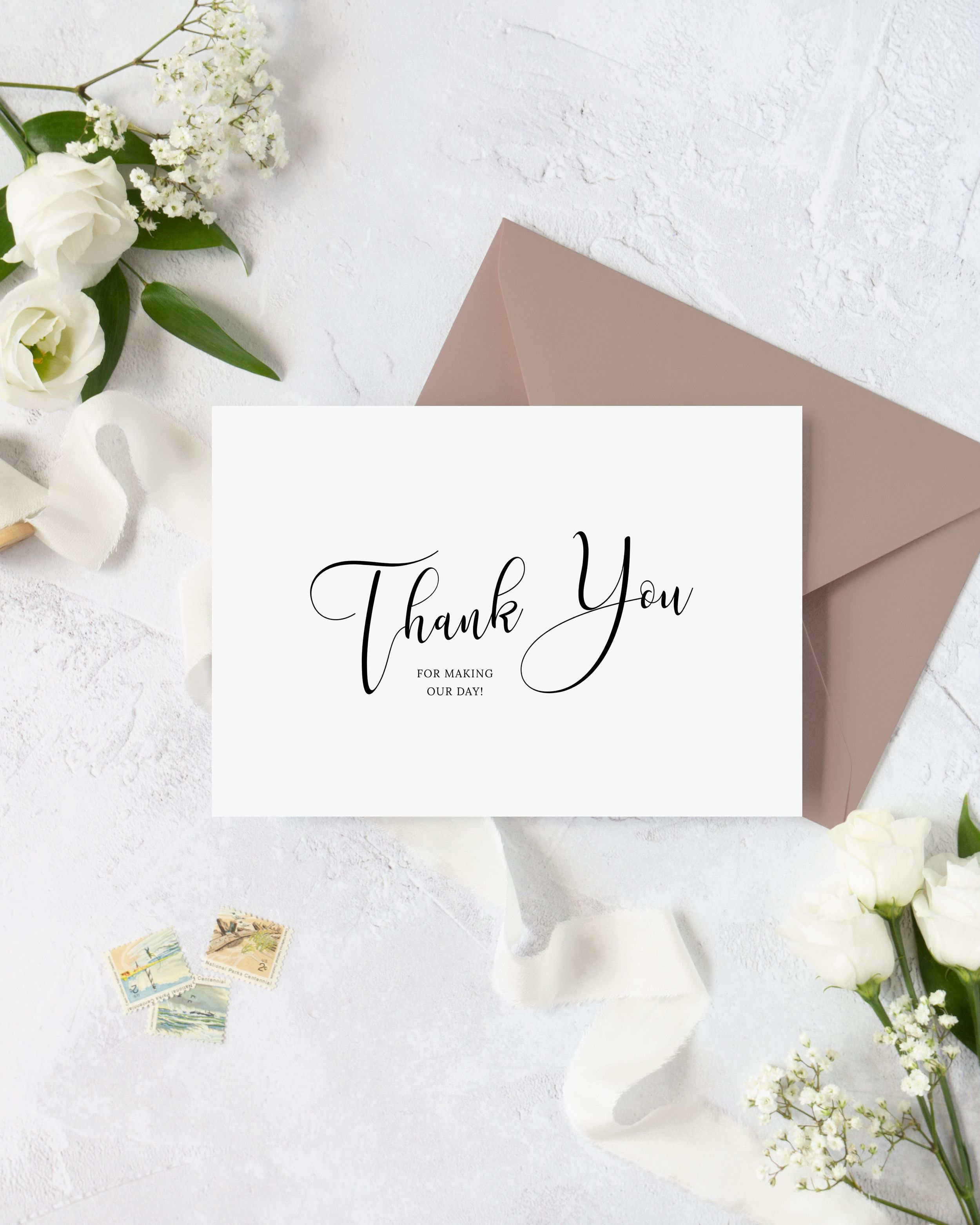 001 Singular Diy Wedding Thank You Card Template Inspiration  TemplatesFull