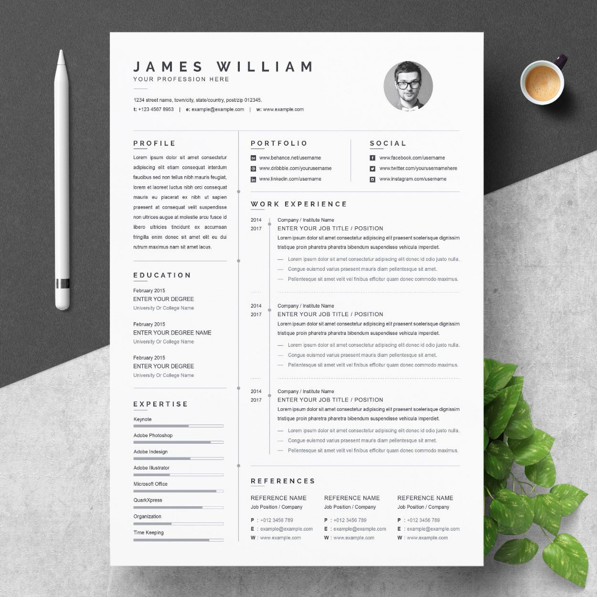 001 Singular Free One Page Resume Template Example  Word Download 2018 Best1920