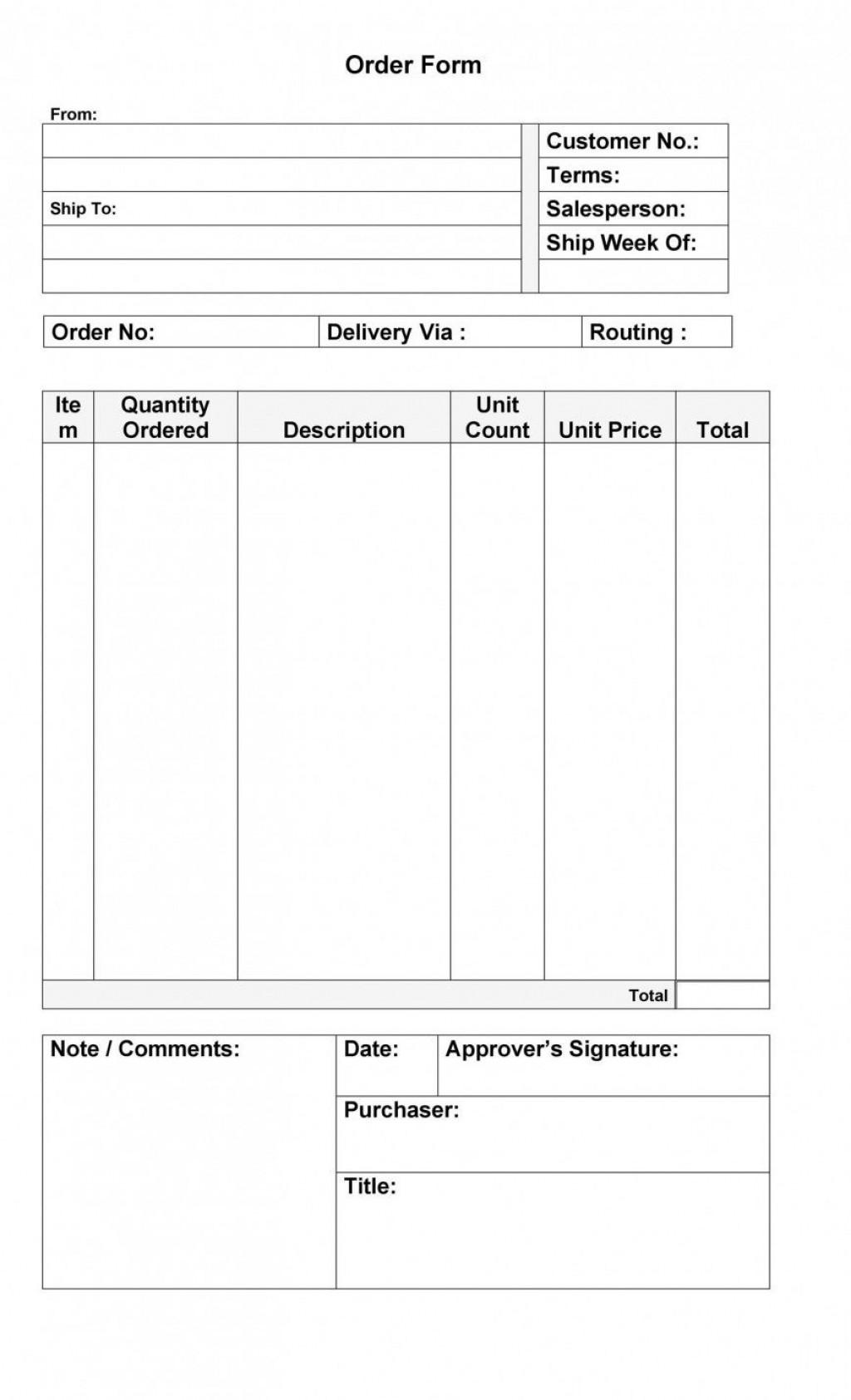 001 Singular Free Order Form Template Design  Sale Excel PdfLarge