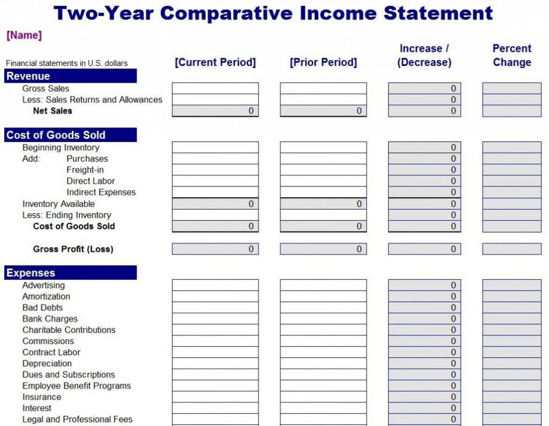 001 Singular Income Statement Excel Template Idea  Quarterly Simple Personal Expense1920