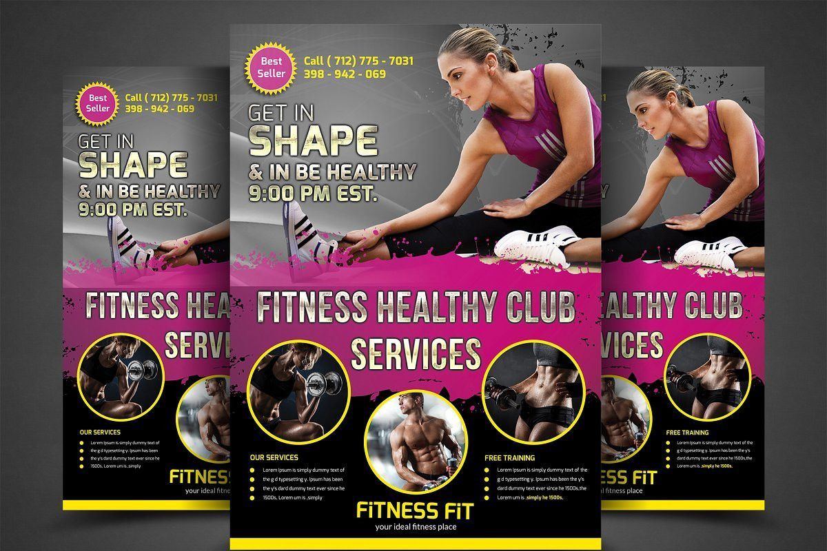 001 Singular Personal Trainer Flyer Template Image  Word PsdFull
