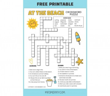 001 Singular Printable Crossword Puzzle For Kid Highest Quality 360