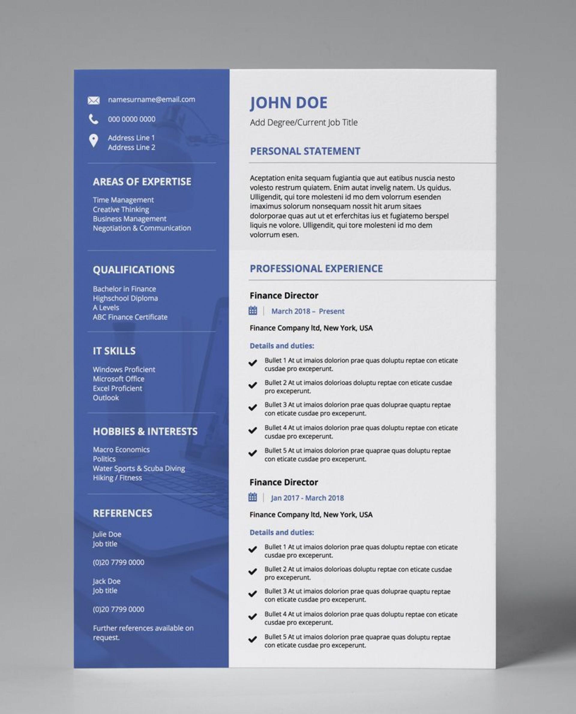 001 Singular Professional Cv Template Free Online Idea  Resume1920