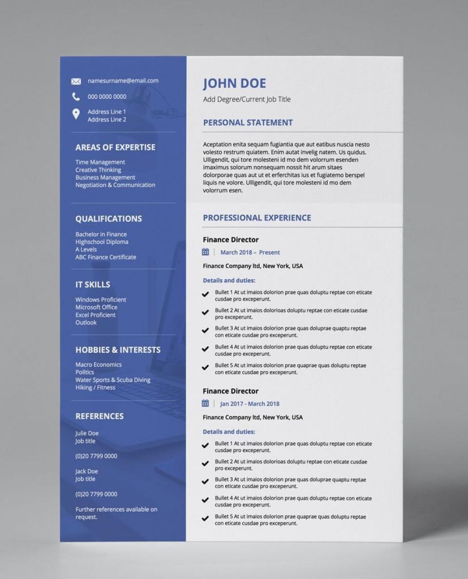 001 Singular Professional Cv Template Free Online Idea  Resume960
