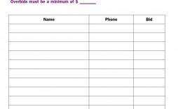 001 Singular Sample Silent Auction Bid Sheet Free Image  Printable Template Download