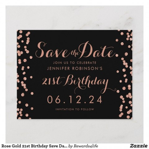 001 Singular Save The Date Birthday Card Template Sample  Free Printable480