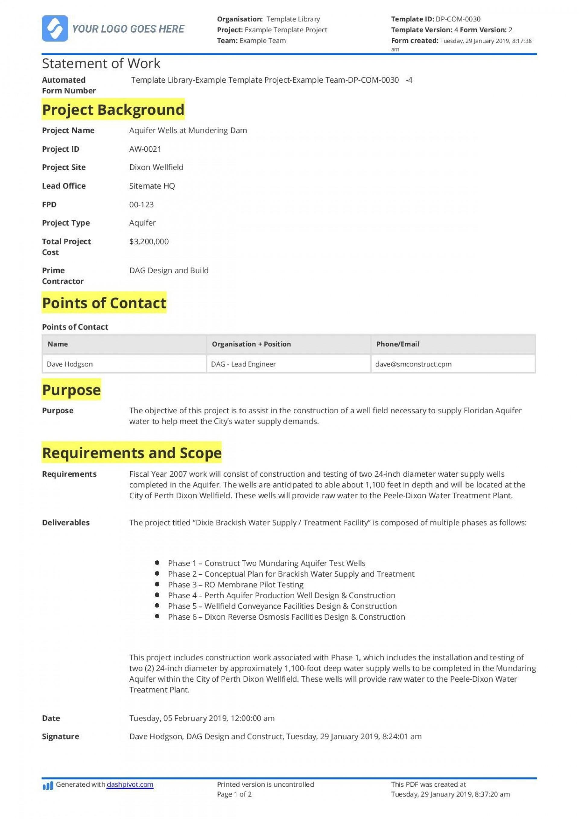 001 Singular Simple Statement Of Work Format Example 1920