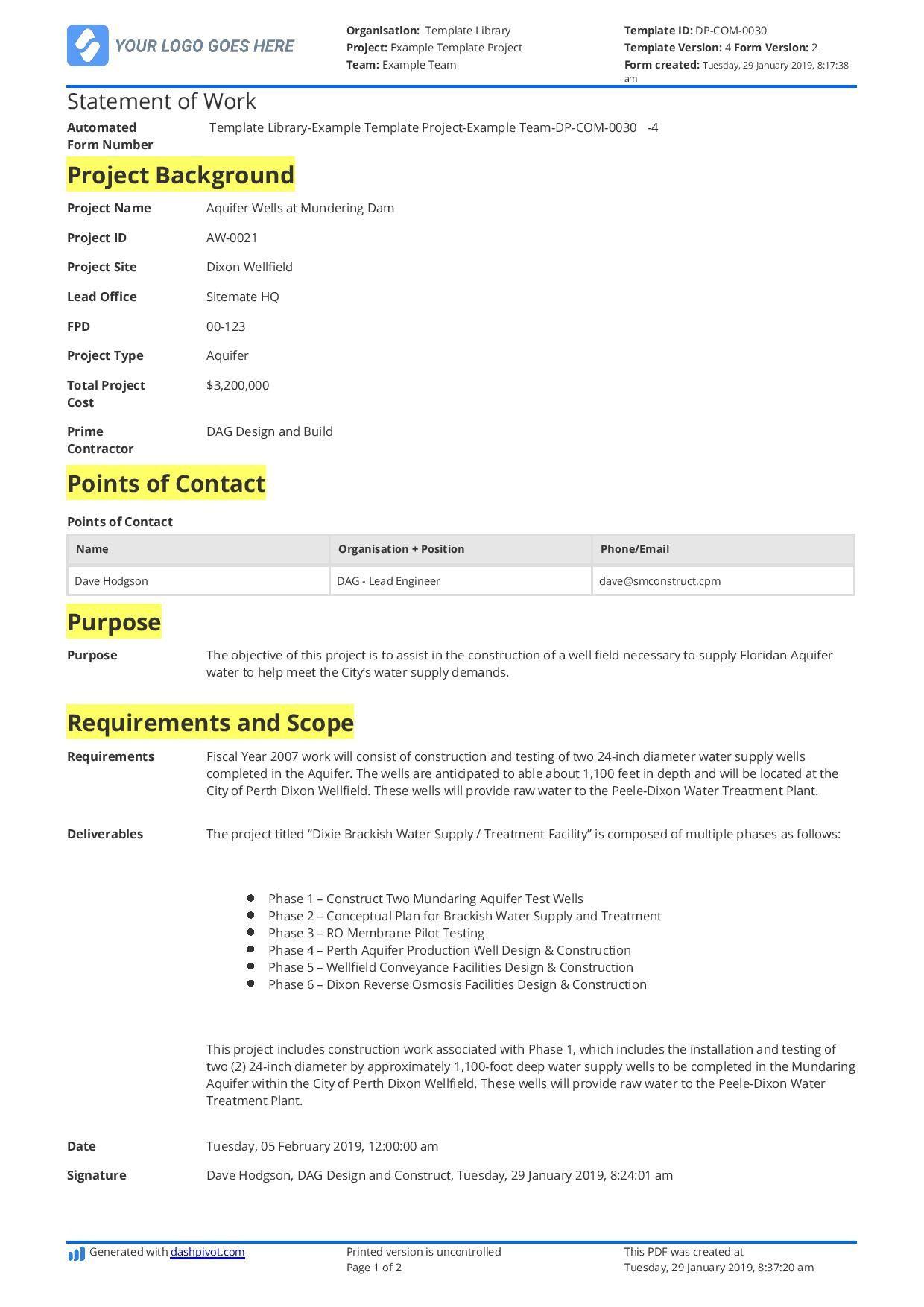 001 Singular Simple Statement Of Work Format Example Full