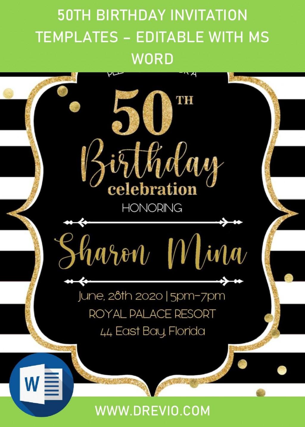 001 Singular Surprise 50th Birthday Invitation Template Word Free Sample Large