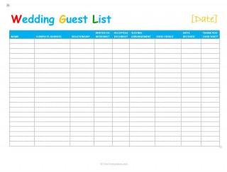 001 Singular Wedding Guest List Excel Spreadsheet Template Design 320