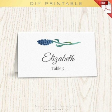 001 Singular Wedding Name Card Template Idea  Seating Chart Place Free360