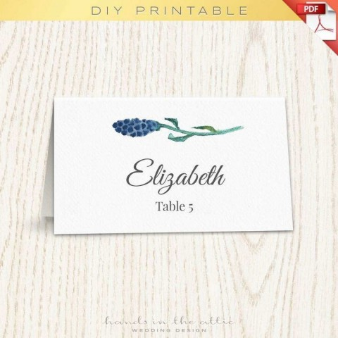 001 Singular Wedding Name Card Template Idea  Seating Chart Place Free480