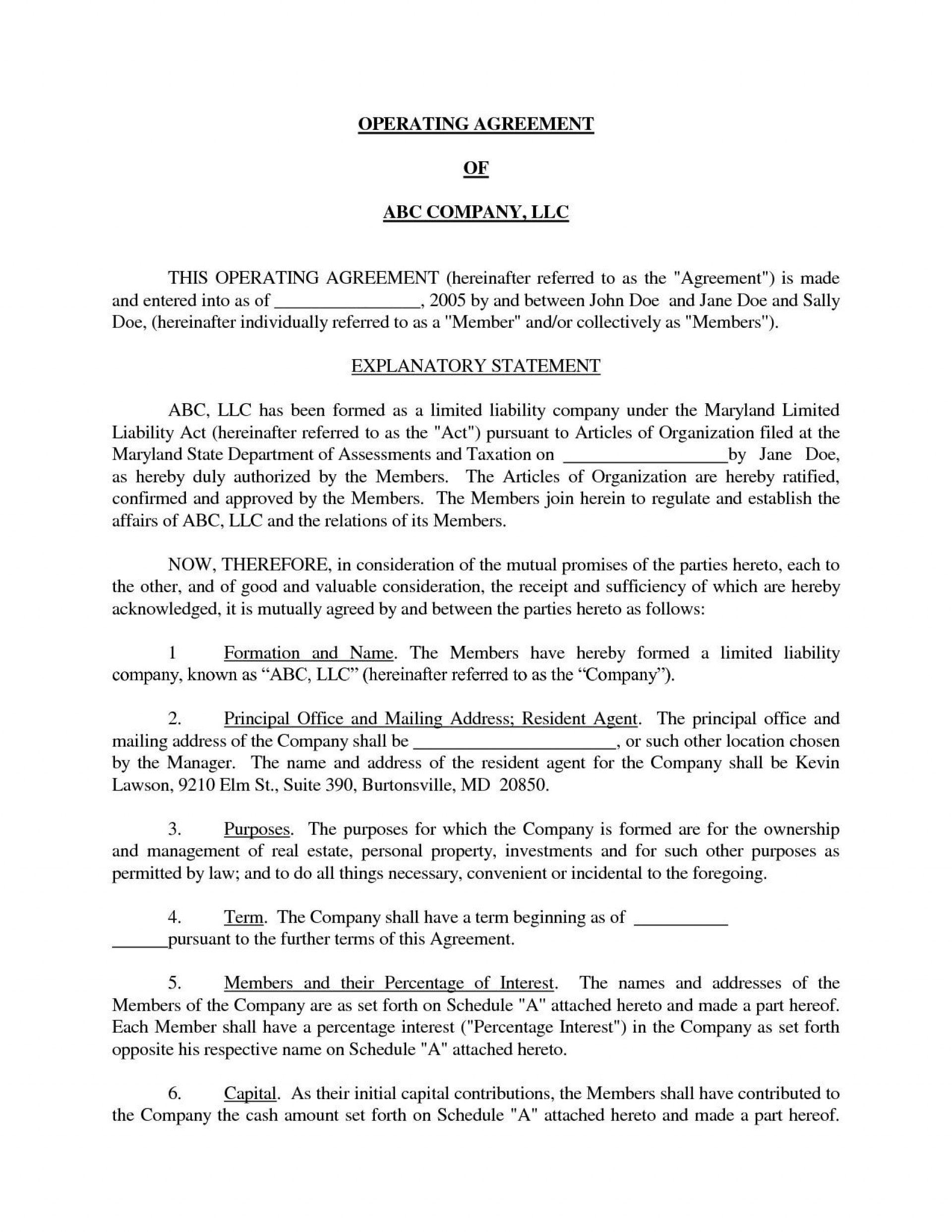 001 Staggering Llc Partnership Agreement Template Example  Free Operating1920