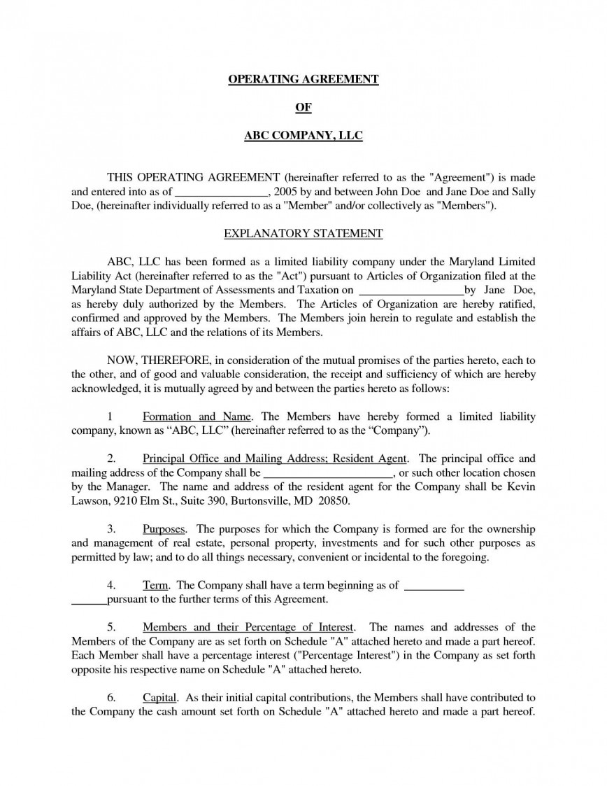 001 Staggering Llc Partnership Agreement Template Example  Free Operating868