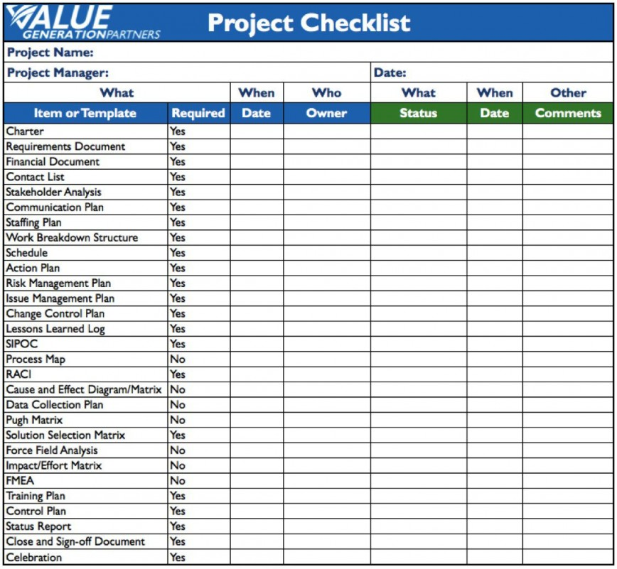 001 Staggering Project Management Checklist Template Inspiration  Audit Excel Simple