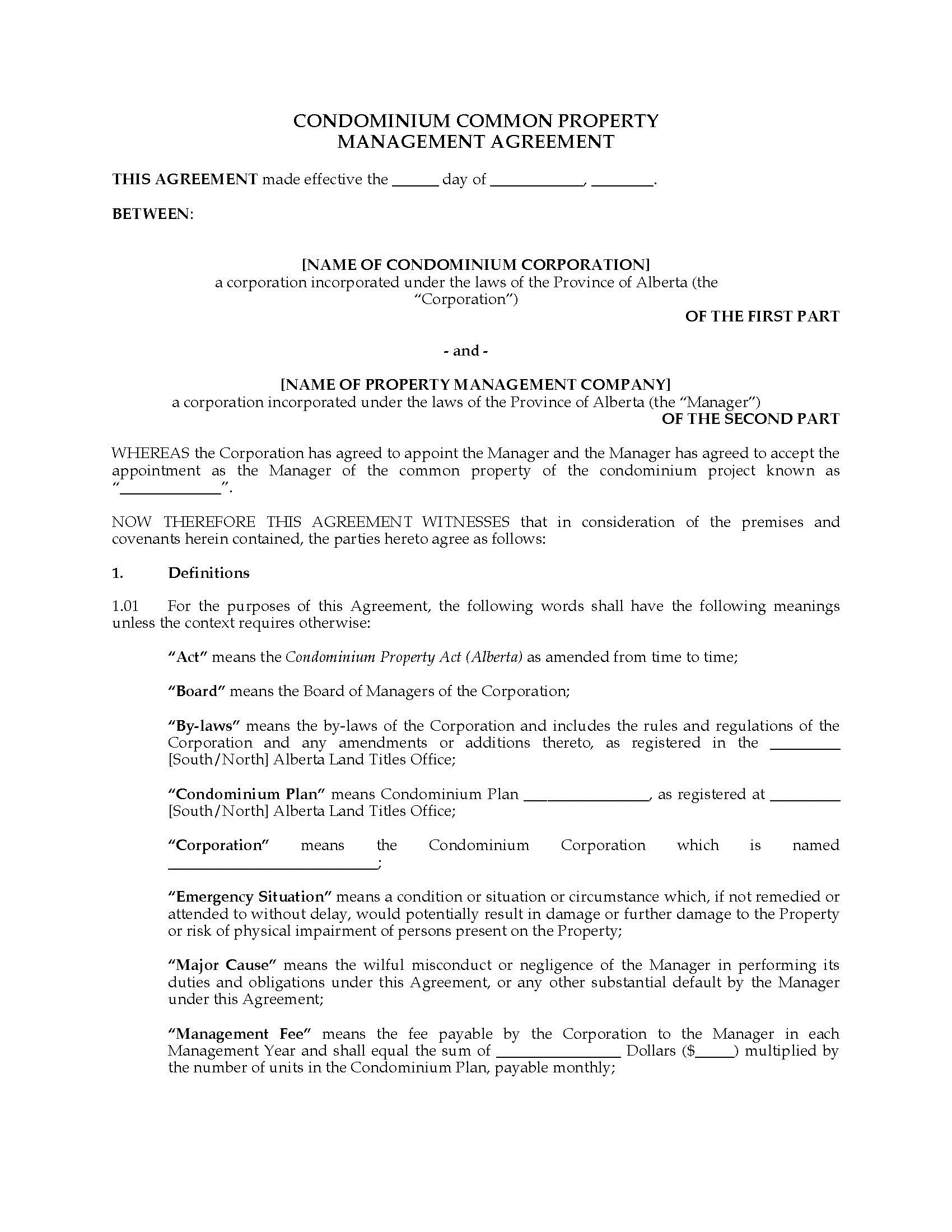 001 Staggering Property Management Contract Template Ontario Design Full