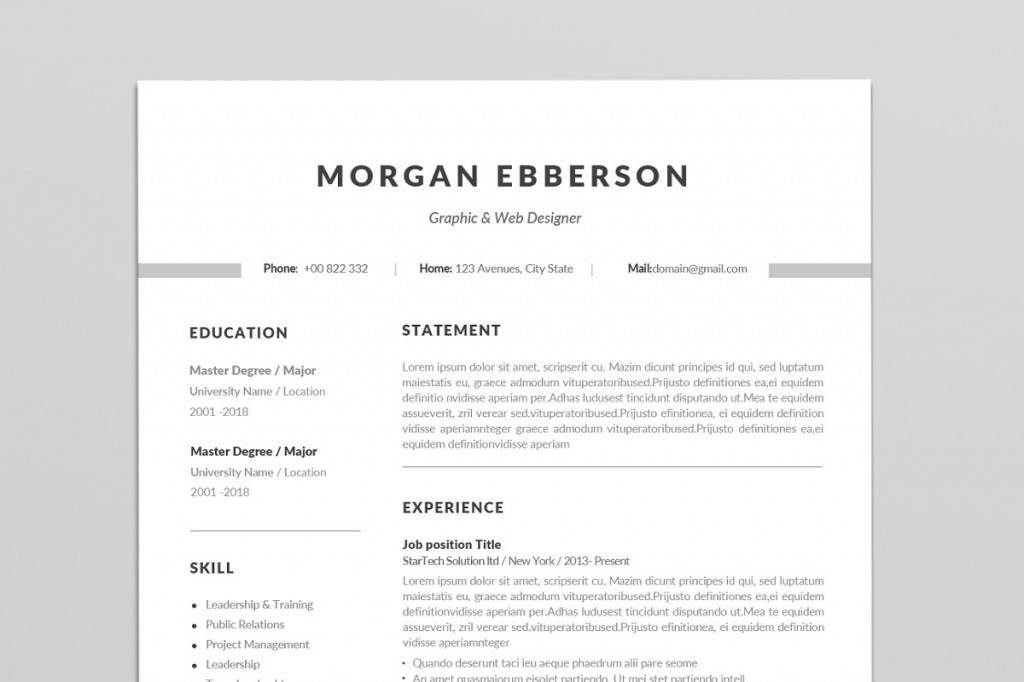 001 Staggering Single Page Resume Template Sample  Cascade One Free Download Word For FresherLarge