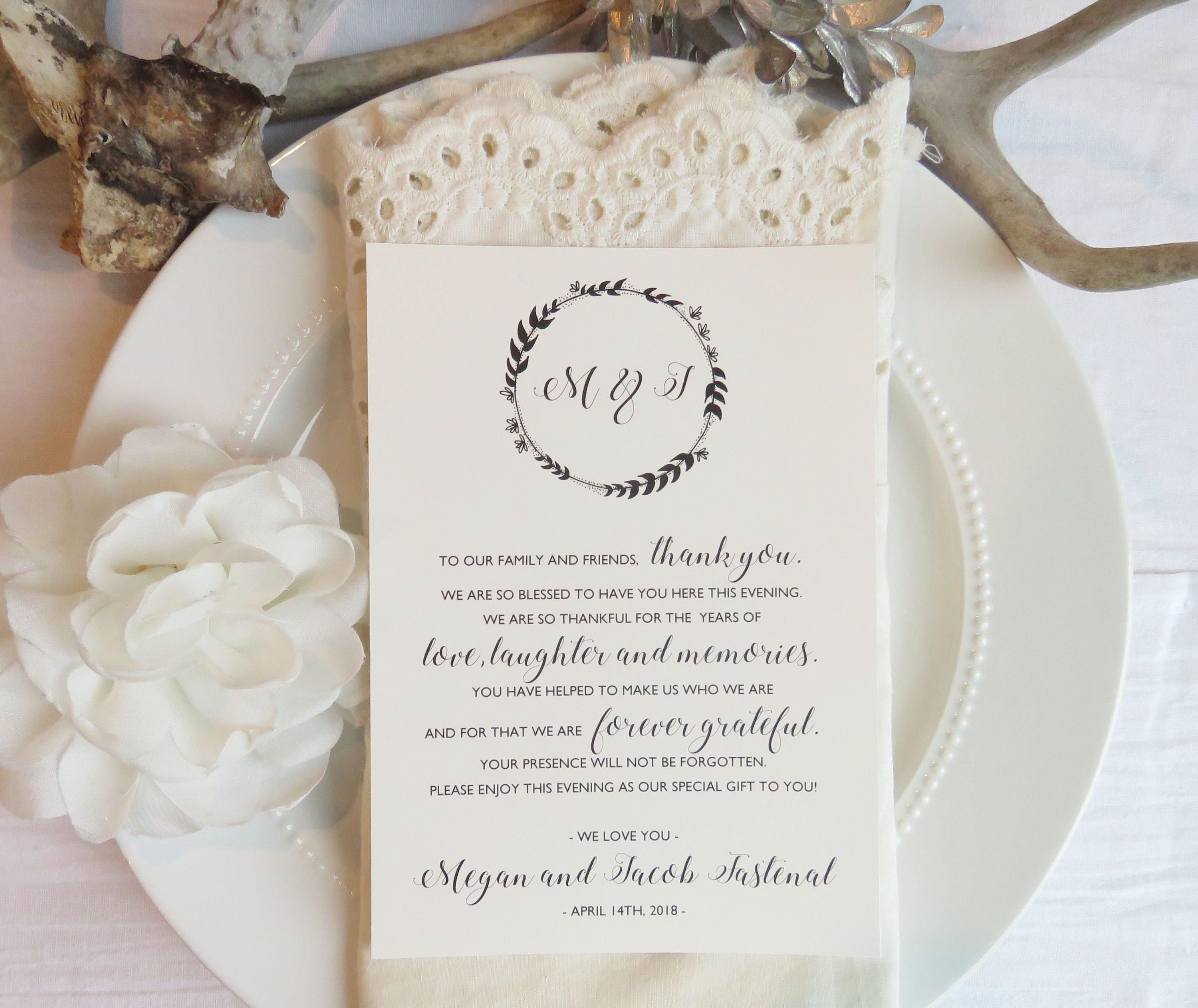 001 Staggering Thank You Note Template Wedding Sample  Card Etsy WordingFull