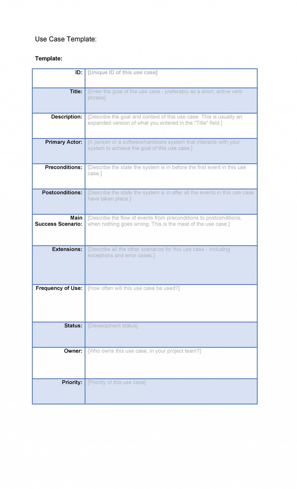 001 Staggering Use Case Template Word High Def  Doc TestLarge