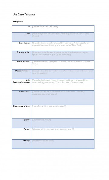 001 Staggering Use Case Template Word High Def  Doc Test360