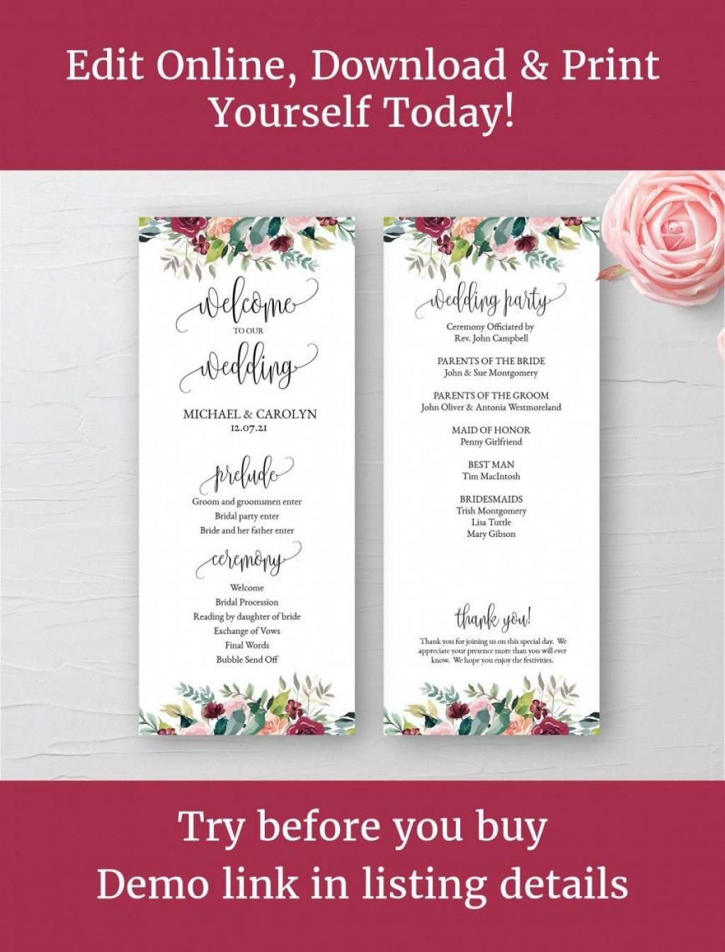 001 Staggering Wedding Program Template Word Example  Catholic Mas Sample Wording Idea SimpleLarge
