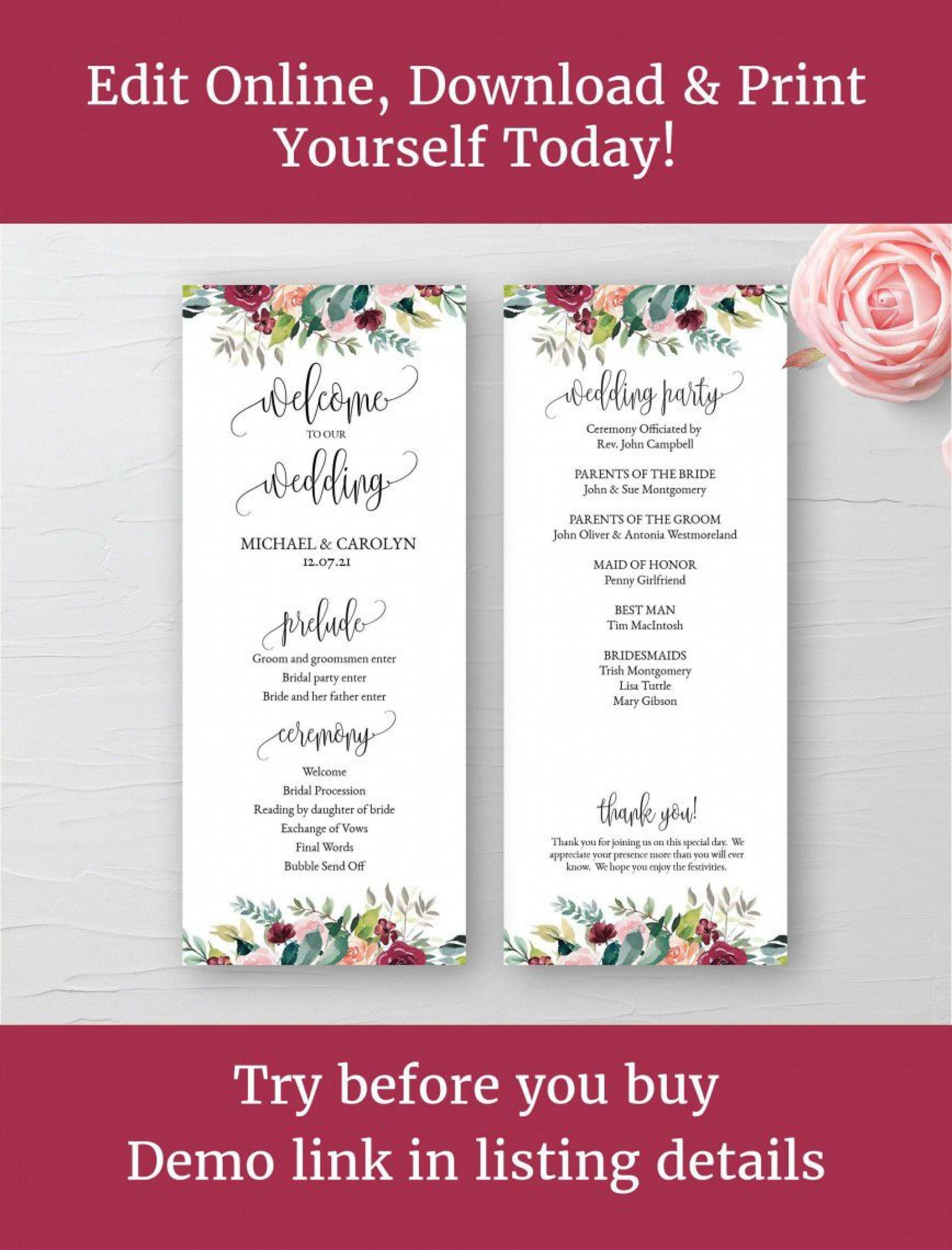 001 Staggering Wedding Program Template Word Example  Catholic Mas Sample Wording Idea Simple1920