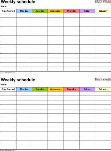 001 Staggering Weekly Schedule Template Pdf Inspiration  Employee Free Work Lesson Plan Format360