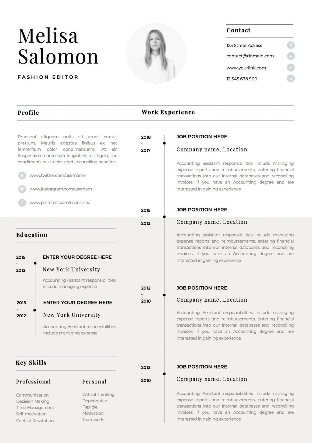 001 Stirring 1 Page Resume Template Picture  Templates One Basic Word Free Html DownloadLarge
