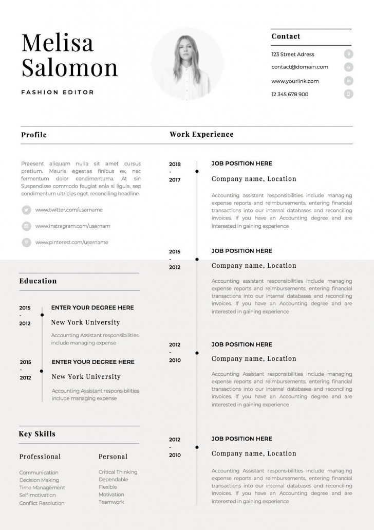 001 Stirring 1 Page Resume Template Picture  One Microsoft Word Free For Fresher728