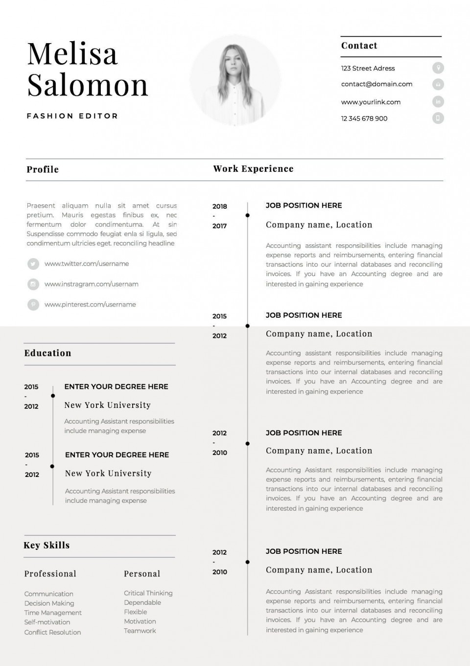 001 Stirring 1 Page Resume Template Picture  One Microsoft Word Free For Fresher960