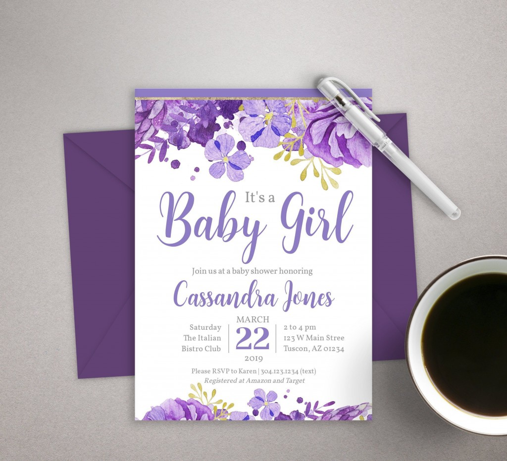 001 Stirring Baby Shower Invitation Girl Purple Photo Large