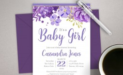 001 Stirring Baby Shower Invitation Girl Purple Photo