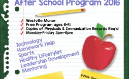 001 Stirring Free After School Program Flyer Template Concept