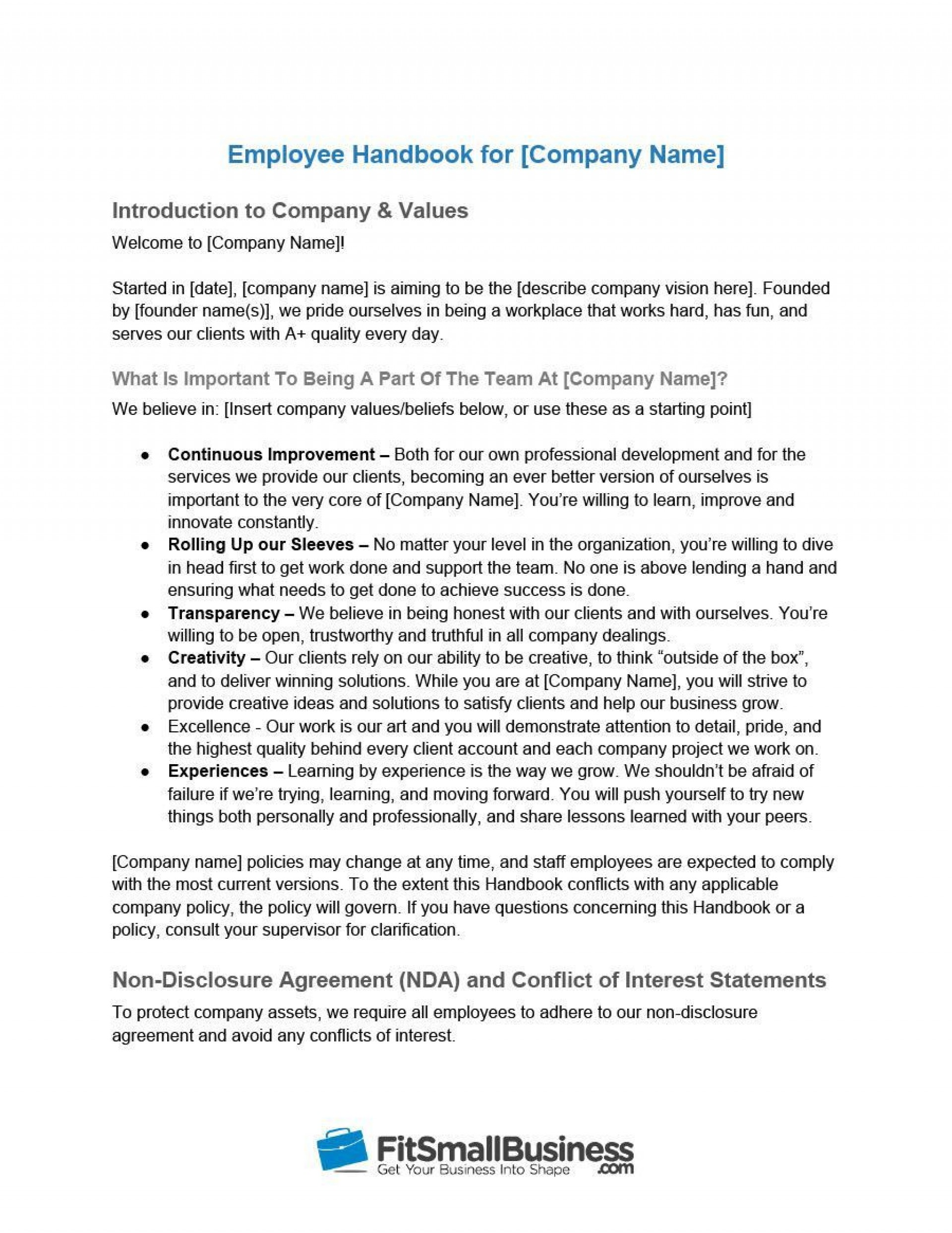 001 Stirring Free Employee Handbook Template Word High Resolution  Sample In Training Manual1920
