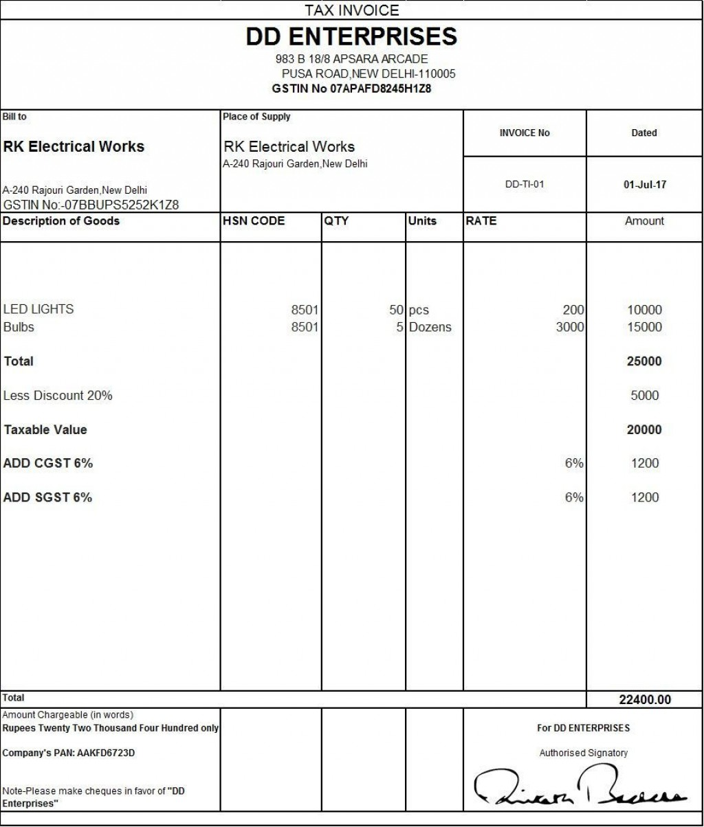 001 Stirring Free Excel Invoice Template Gst India Photo Large