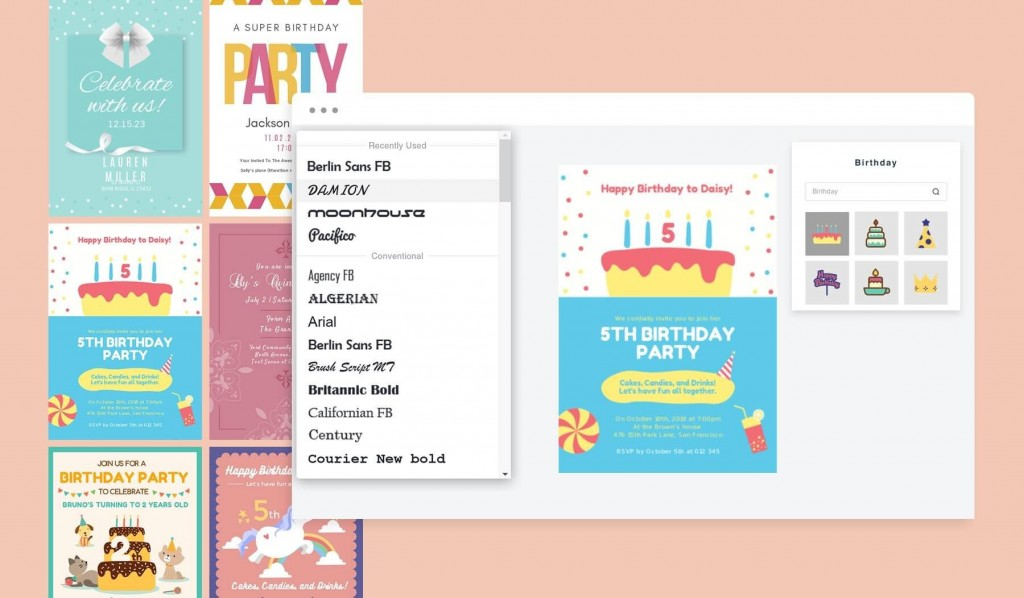 001 Stirring Free Online Birthday Invitation Card Maker With Name And Photo Image Large